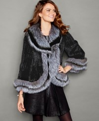 The Fur Vault Fox Fur Trim Knitted Mink Fur Jacket Black Silver