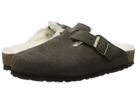 Birkenstock Boston Shearling Mocha Suede Shearling Women's Clog Shoes Black