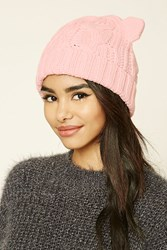 Forever 21 Cable Knit Ear Beanie Pink