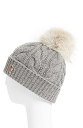 Moncler Women's 'Berreto' Wool And Cashmere Cable Knit Beanie With Genuine Coyote Fur Pom Grey Medium Grey