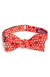 Vineyard Vines Men's 'Polka Dot Whale' Print Silk Bow Tie Red Lighthouse Red