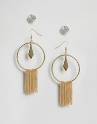 Glamorous Statement Tassel And Stud Earrings Gold