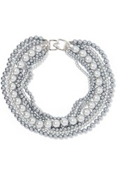 Kenneth Jay Lane Rhodium Plated Faux Pearl Necklace Gunmetal