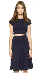 Susana Monaco Short Sleeve Crop Top Midnight