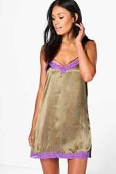 Boohoo Satin Contrast Lace Strappy Babydoll Olive