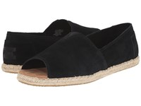 Toms Alpargata Open Toe Black Suede Women's Flat Shoes