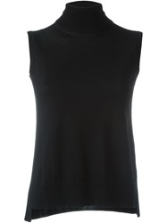Akris Turtleneck Sleeveless Knitted Top Black
