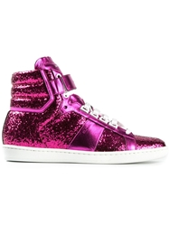 Saint Laurent 'Court Classic' Glitter Hi Top Sneakers Pink And Purple