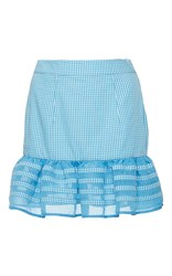 Rahul Mishra Ruffled Gingham Mini Skirt Blue