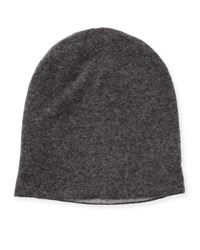 Portolano Reversible Soft Knit Beanie Hat Heather Charcoal Light Heather Gray