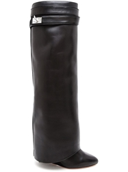 Givenchy Shark Lock Knee High Leather Wedge Boots Black