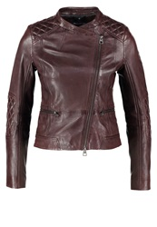 Marc O'polo Leather Jacket Dark Prune Bordeaux