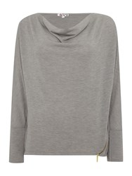 Wal G Long Sleeved Knit With Zip Detail Grey