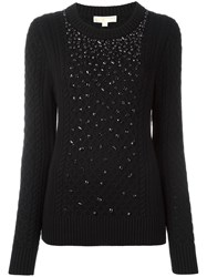 Michael Michael Kors Embellished Fair Isle Jumper Black