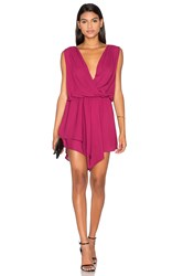 Krisa Asymmetrical Surplice Mini Dress Red