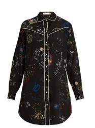 Valentino Astrocouture Print Silk Crepe De Chine Shirt Black Multi