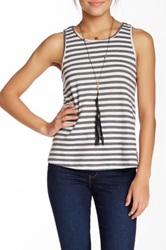 Lovers Friends Striped Draped Open Back Tank Gray