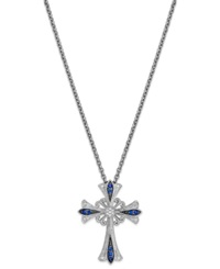 Macy's Sapphire 1 5 Ct. T.W. And Diamond Accent Antique Cross Pendant Necklace In Sterling Silver