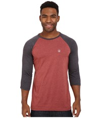 Volcom Heather 3 4 Raglan Port Heather Men's Long Sleeve Pullover Purple