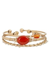 Treasure And Bond Women's Beaded Cuffs Set Of 3 Carnelian Gold
