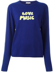 Bella Freud Love Music Intarsia Jumper Blue