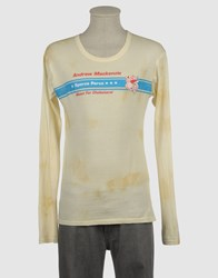 Andrew Mackenzie Topwear Long Sleeve T Shirts Men Light Yellow