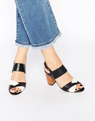Ravel Leather Block Heeled Sandals Blackwhite
