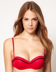Huit Lucky Underwired Bandeau Bikini Top Red