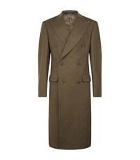 Richard James Double Breasted Wool Overcoat Male Green