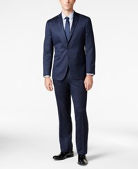 Kenneth Cole Reaction Techni Navy Mini Stripe Slim Fit Suit