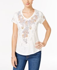 Styleandco. Style Co. Paisley Graphic V Neck T Shirt Only At Macy's Coconut
