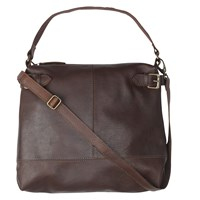 Fat Face Sally Leather Buckle Shoulder Bag Chocolate