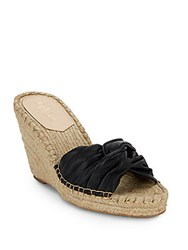 Loeffler Randall Blanche Twisted Leather Espadrille Wedge Sandals Black