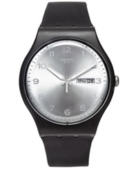 Swatch Unisex Swiss Silver Friend White And Black Double Layer Silicone Strap Watch 41Mm Suob717