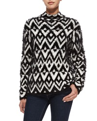 Parker Raissa Chevron Turtleneck Sweater Black Ivory