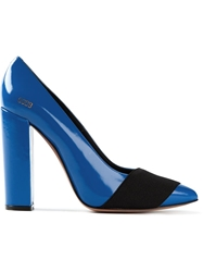 Golden Goose Deluxe Brand Banded Chunky Heel Pumps Blue