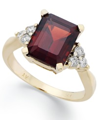 Macy's 14K Gold Ring Emerald Cut Garnet 3 1 2 Ct. T.W. And Diamond 1 4 Ct. T.W. Ring