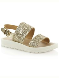 Daniel Angram Glitter Chunky Strap Sandals Gold Metallic