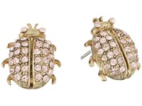 Oscar De La Renta Crystal Bug Button P Earrings Peach Earring Orange