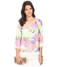 Lilly Pulitzer Alia Top Multi Roar Of The Sea Women's Clothing
