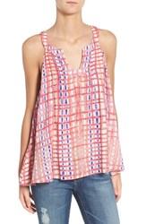 Plenty By Tracy Reese Women's Print Split Neck Tank Watercolor Blocks