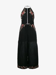 Zimmermann Sakura Floral Embroidered Jumpsuit Black Multi Coloured Linen Metallic Gold