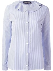 Vanessa Seward Ruffle Collar Striped Shirt Blue