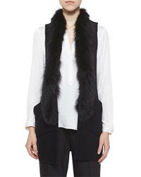 Milly Fox Fur Trim Vest