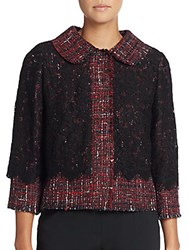 Dolce And Gabbana Tweed And Lace Jacket Maroon