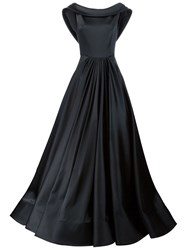Christian Siriano Cowl Neck Pleated Gown Black