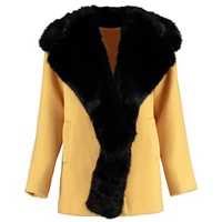 By Sun Heavy Wool Coat With Faux Fur Collar Yellow Yellow Orange