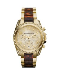 Mid Size Golden Stainless Steel Blair Chronograph Glitz Watch Michael Kors Gold Tortoise