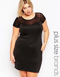 Praslin Plus Size Skater Dress With Polka Dot Printed Top Blackparty