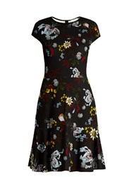 Erdem Darlina Bacall Night Floral Print A Line Dress Black Multi